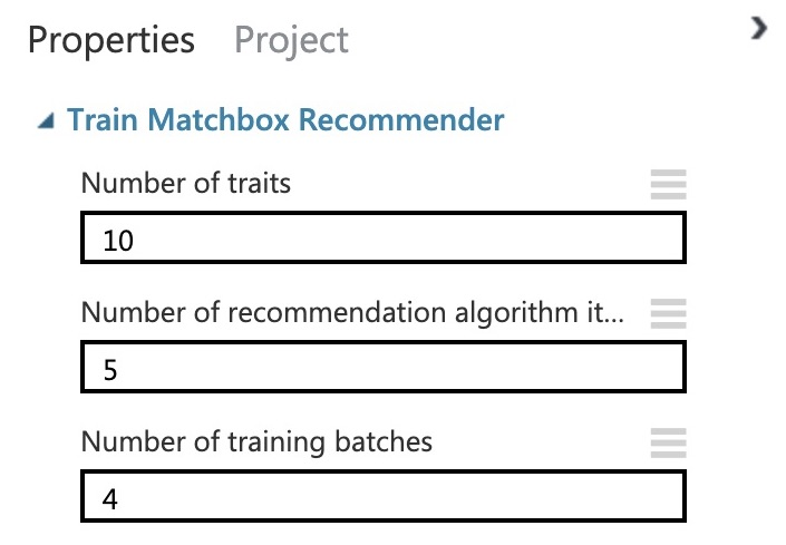 Train Matchbox Recommender Options